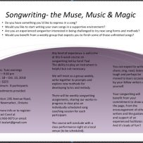Songwriting Course—the Muse, Music & Magic